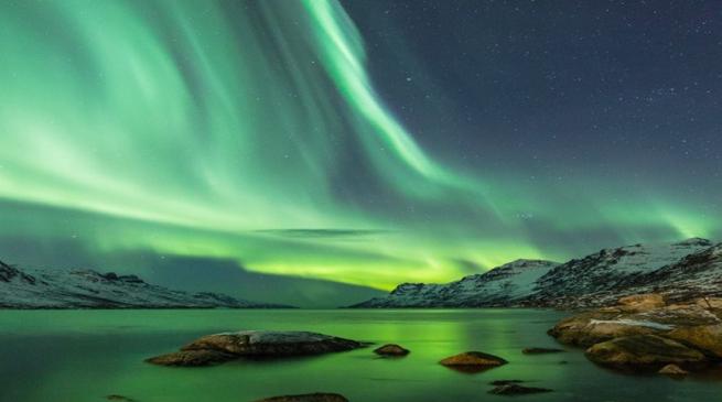 Beschreibung: olarlicht über Fjord