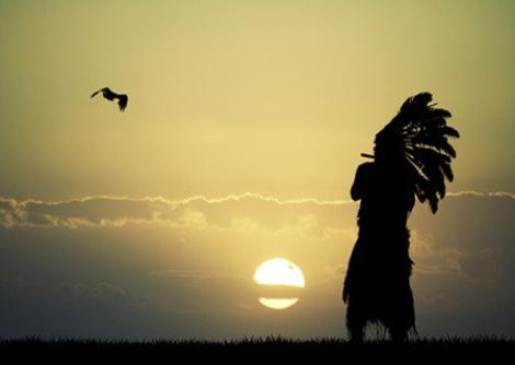 Beschreibung: ndianer und Vogel vor Sonnenuntergang