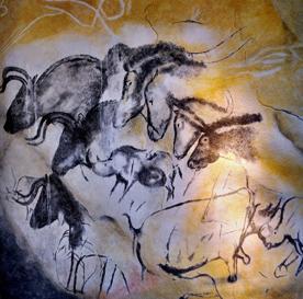 Beschreibung: eplikat Chauvet Höhle Pferde und Bisons