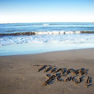Beschreibung: hank you steht geschrieben in den Sand am Meer